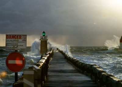 Heavy waves hitting the Pillars of Capbreton - France
