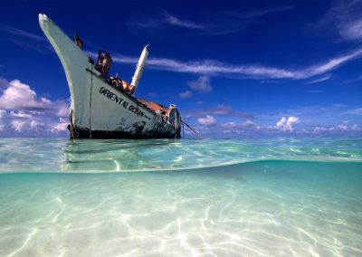 The Oriental Ocean found her final destination on a maldivian sandbank