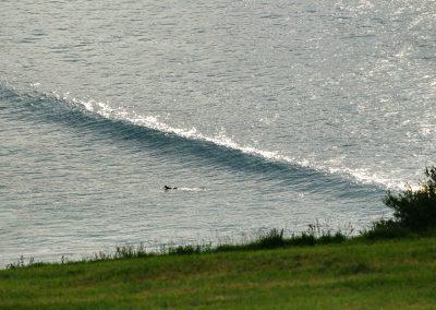 A lonely surfer in Zarautz.