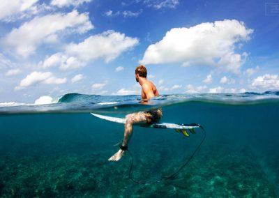 Tobi Strauss enjoying the moment of tropic  surf perfection.